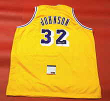 MAGIC JOHNSON AUTOGRAPHED LOS ANGELES LAKERS JERSEY PSA/DNA