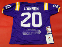 BILLY CANNON AUTOGRAPHED LOUISIANA STATE U TIGERS  STAT JERSEY LSU JSA AAA INSCS