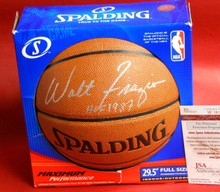 WALT FRAZIER AUTOGRAPHED NBA BASKETBALL NEW YORK KNICKS JSA HOF INSCRIPTION