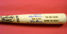 SHOT HEARD ROUND THE WORLD DUAL SIGNED B THOMSON + R BRANCA BASEBALL BAT STEINER