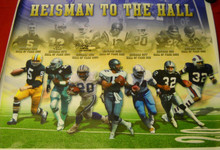 BARRY SANDERS TONY DORSETT AUTOGRAPHED 33X42 HEISMAN TO HALL OF FAME CANVAS