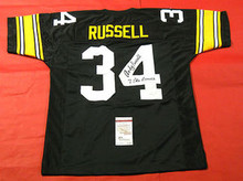ANDY RUSSELL AUTOGRAPHED PITTSBURGH STEELERS JERSEY JSA 7 PRO BOWLS INSCRIPTION