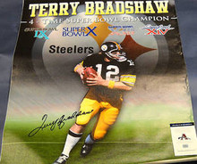 TERRY BRADSHAW STEELERS AUTOGRAPHED 32X40 CANVAS AAA