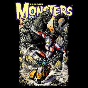Godzilla, Ultraman, Kikaida T-shirt