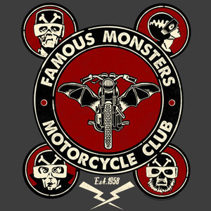 Famous Monsters Motorcycles Club Full Logo Grey Tee