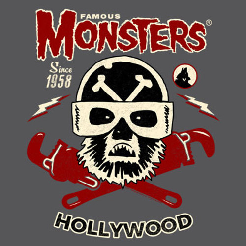 Famous Monsters Motorcycles Club Wolf Red Grey Tee
