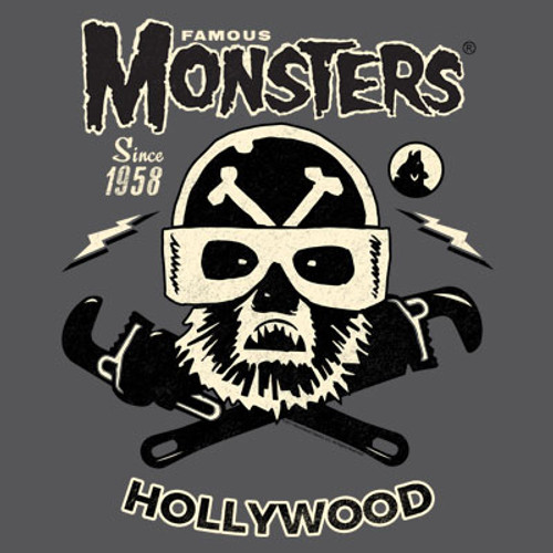 Famous Monsters Motorcycles Club Wolf Black Grey Tee