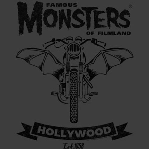 Famous Monsters Motorcycles Club Bike Black Grey Tee