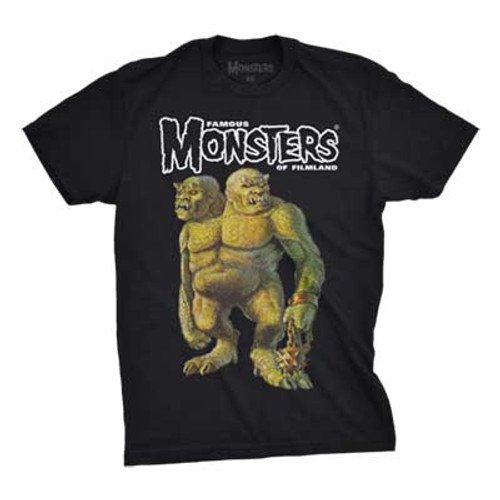 100% Cotton  This shirt features the GALLIGANTUS cover image by Ron Cobb from the FAMOUS MONSTERS OF FILMLAND YEARBOOK 1968 with the FAMOUS MONSTERS logo above. The secret/ cool part is that the FAMOUS MONSTER logo GLOWS-IN-THE-DARK! Shirt design by Brent Ashe.
