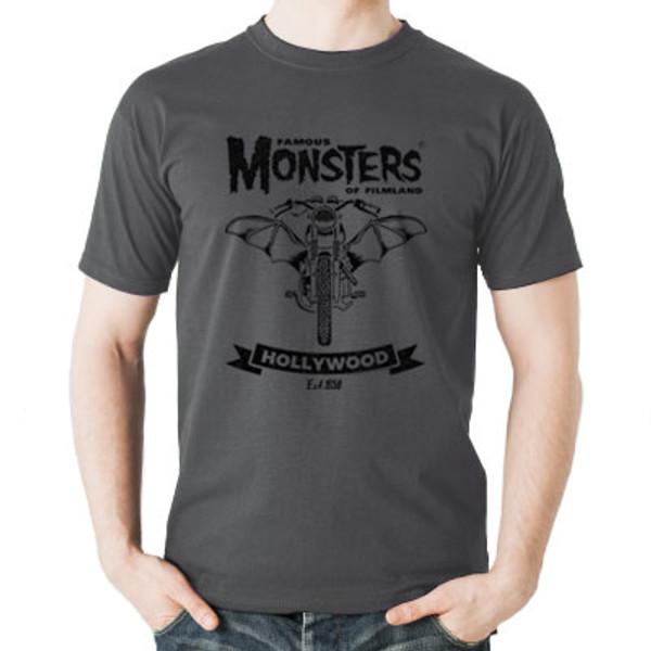Famous Monsters Motorcycles Club Bike Black Grey Tee
