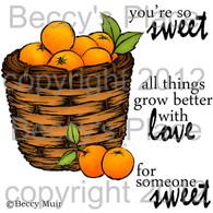Basket of Oranges digital stamps
