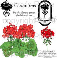 Geranium digital stamps