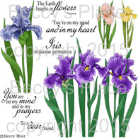 Iris Garden digital stamps