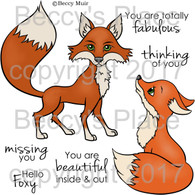 Hello Foxy digital stamps