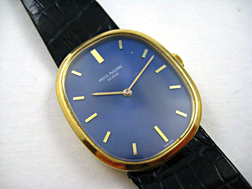Patek Philippe 3548 18k yellow gold Ellipse oval 1970's vintage original for sale houston fabsuisse