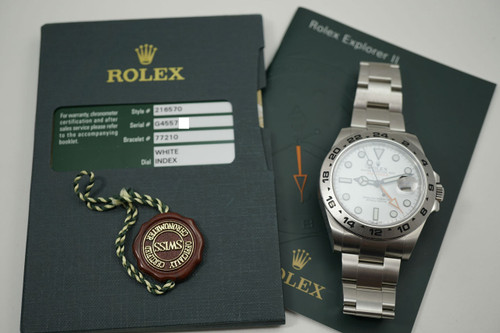"Rolex 216750 Explorer II box, card, booklets ""G"" series dates 2012 stainless steel pre-owned for sale Houston fabsuisse"