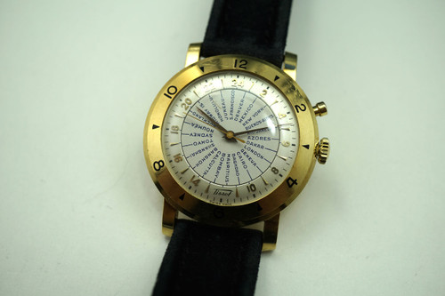 Tissot World Time 18k yellow gold vintage c. 1950's for sale houston fabsuisse