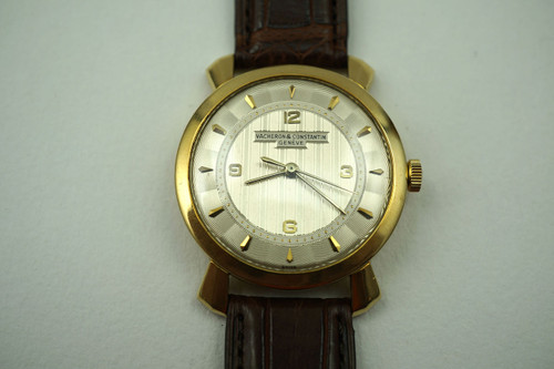 Vacheron Constantin sweep vintge 18k yellow gold Guilloche dial dates 1945-50 all original pre owned for sale houston fabsuisse