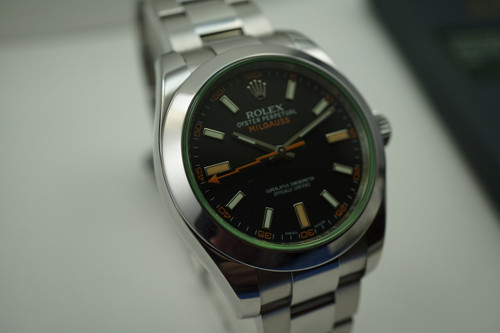 Rolex 116400V Milgauss green crystal anniversary w/card & books c.2009 pre-owned automatic for sale Houston Fabsuisse