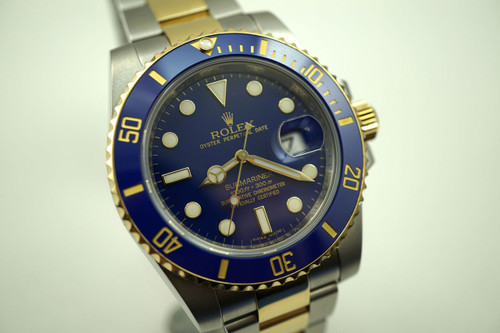 Rolex 116613 Submariner tutone blue ceramic books & card c.2007 for sale Houston Fabsuisse