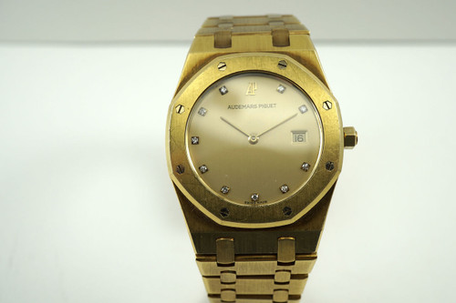 Audemars Piguet Royal Oak 18k yellow gold 33 mm diamond dial dates 1990's