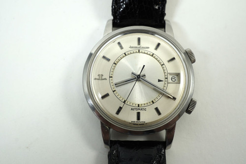 "Jaeger LeCoultre 875.42 Memovox ""Speed Beat"" steel automatic dates 1969 alarm watch all original for sale houston fabsuisse"