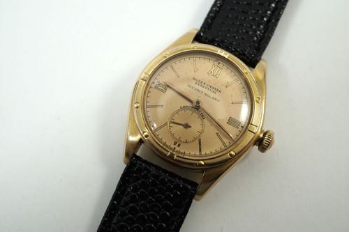 Rolex Chronometre rare 18k pink 3/4 boy size original dial signed Guidici Milano c. 1940's for sale houston fabsuisse
