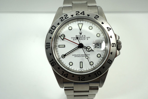 Rolex 16570 Explorer II white dial A series w/ box, papers & service card c. 1999 pre owned for sale houston fabsuisse