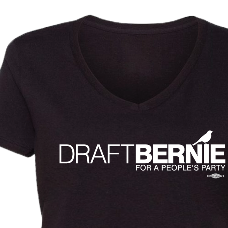 Draft Bernie Official Logo (Black Ladies' V-Neck Tee)