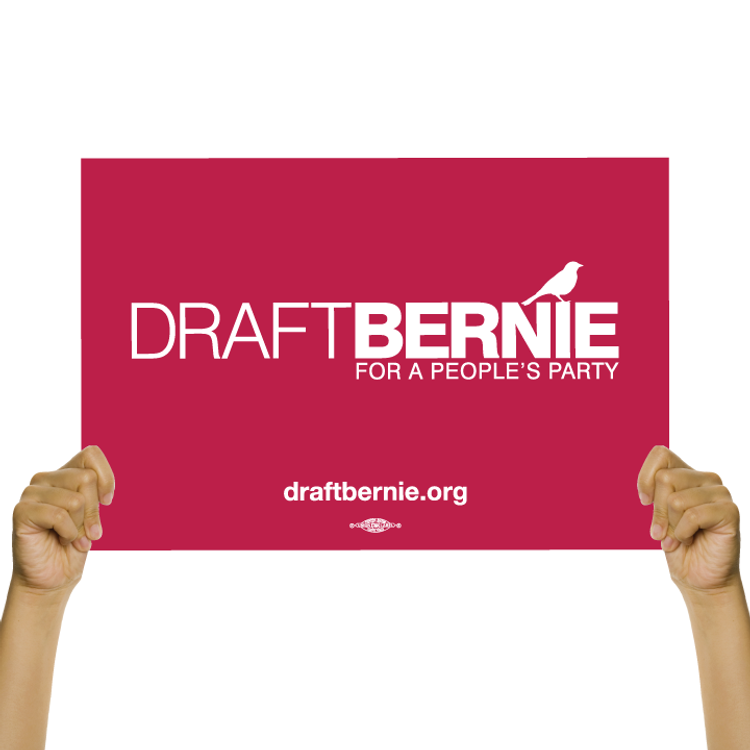 "Draft Bernie Rally Sign (18"" x 12"" Cardstock)"""