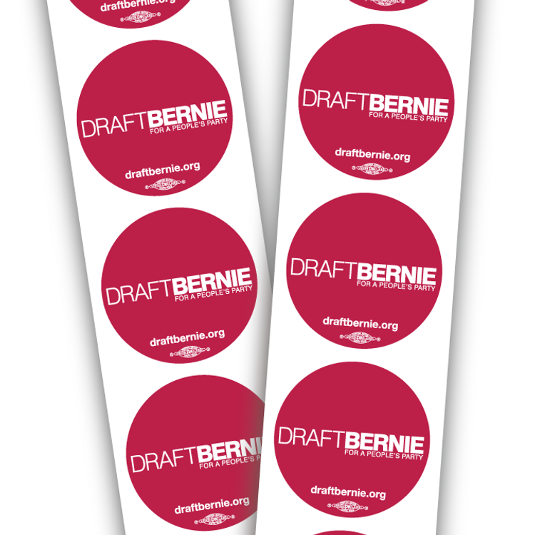 Draft Bernie 3-inch. Rally Stickers, paper stock on strips (20 total stickers)