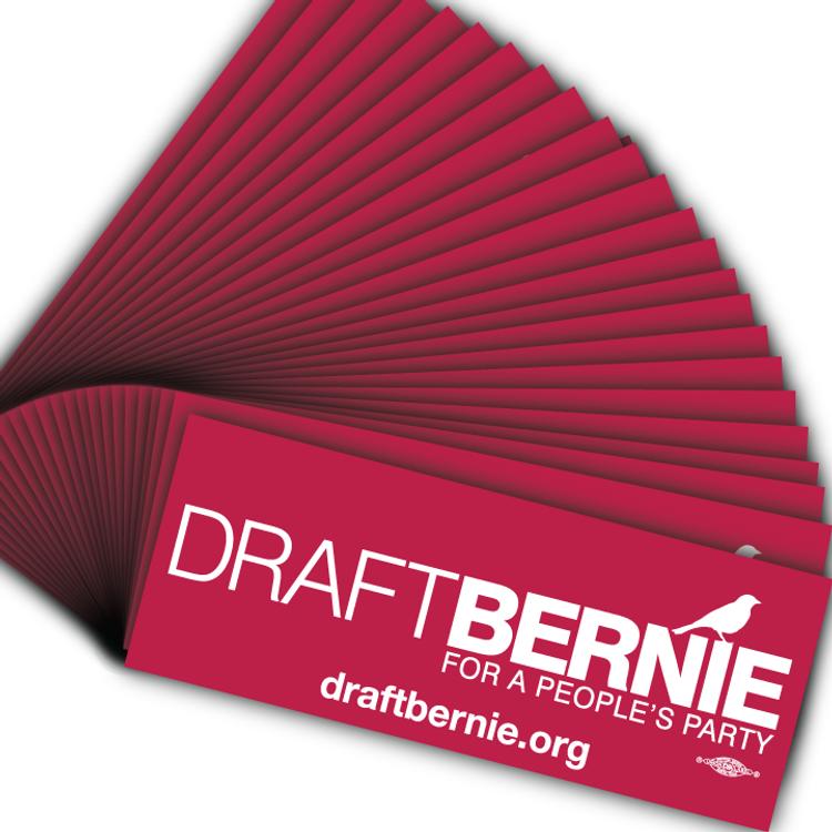 Draft Bernie Official Logo, Burgundy Vinyl Sticker (50-Pack)