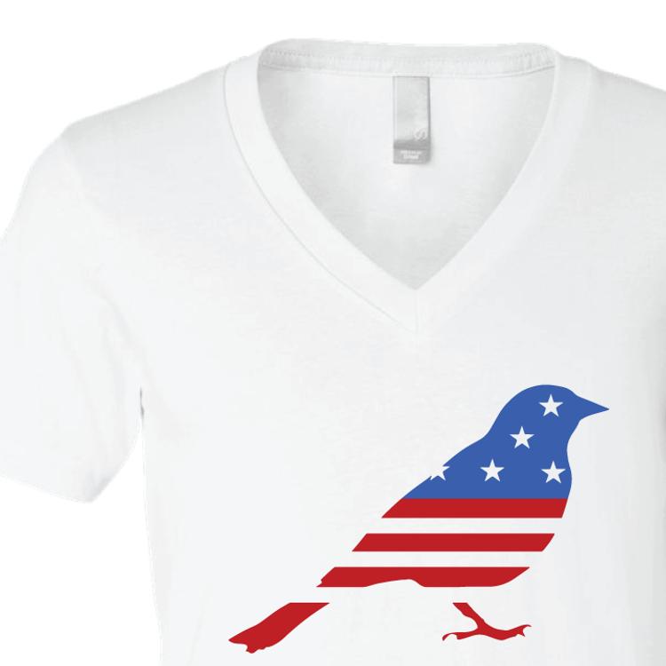 American Flag Bird Draft Bernie Graphic (White V-Neck)