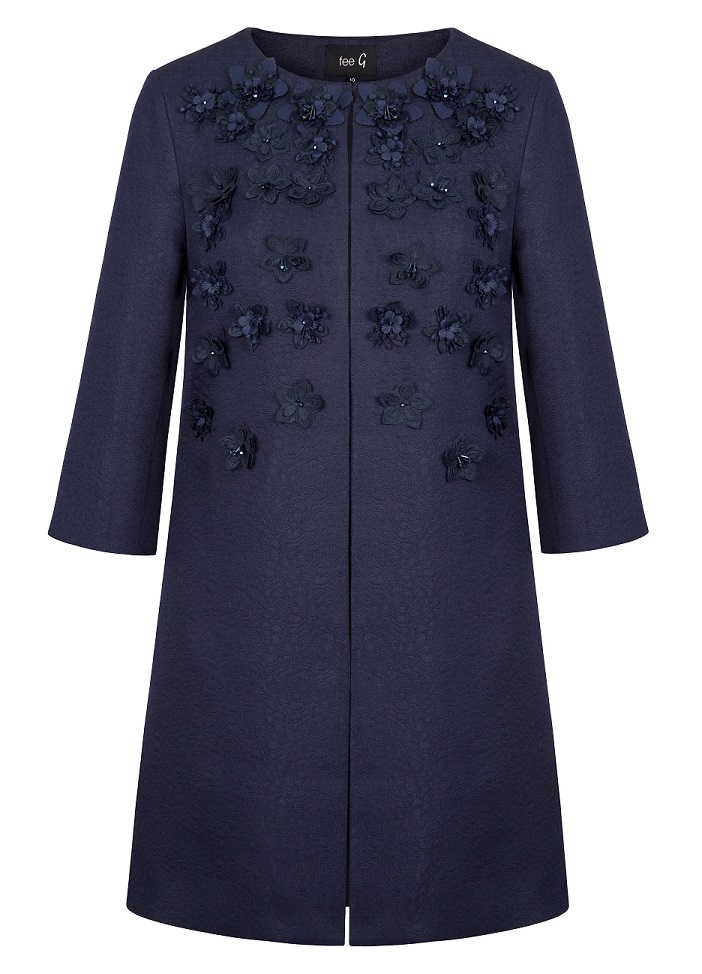 Fee G Embellished Navy Coat
