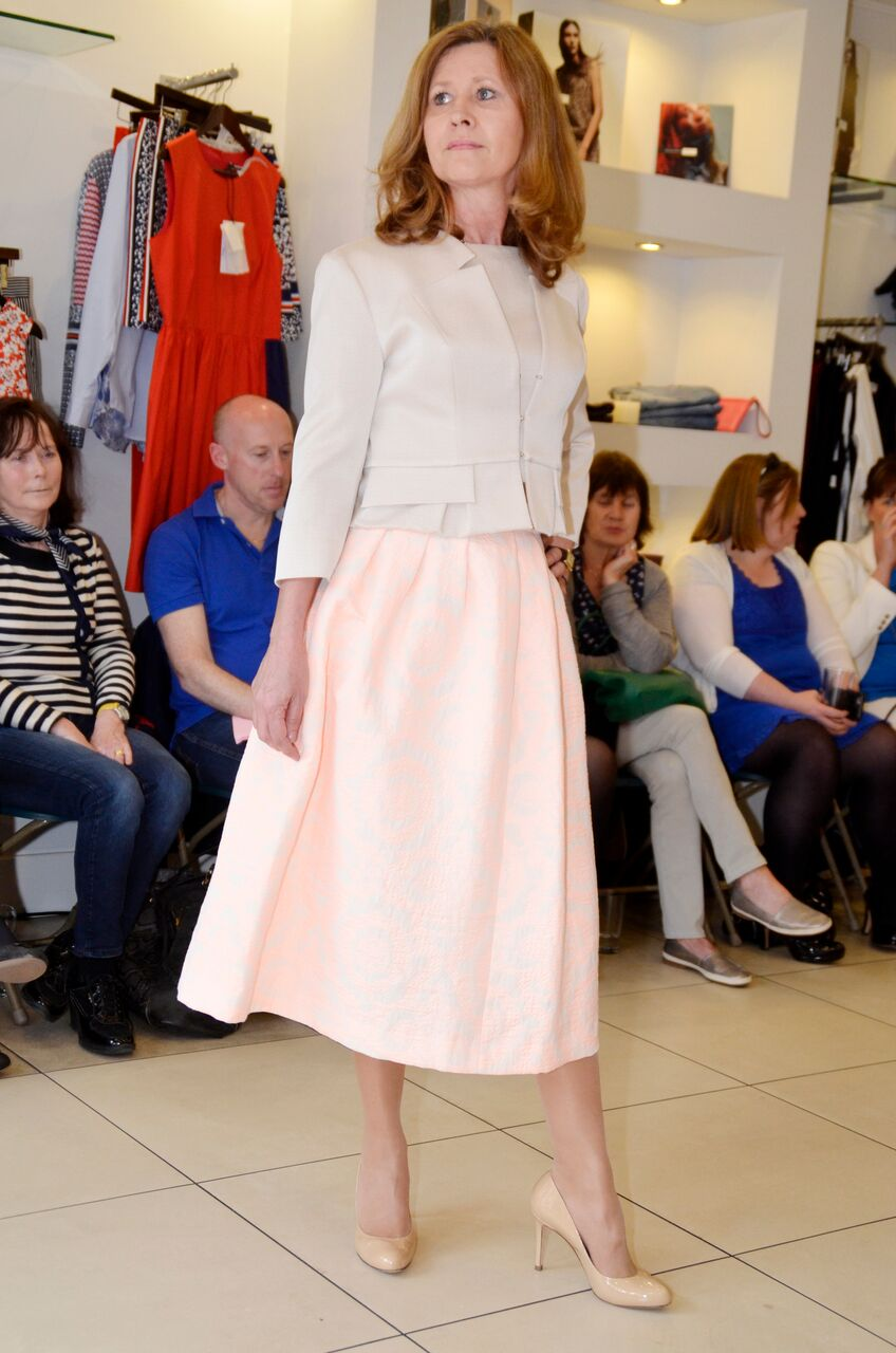 Caroline Kilkenny Laura Beige Jacket and Molly Skirt in Peach