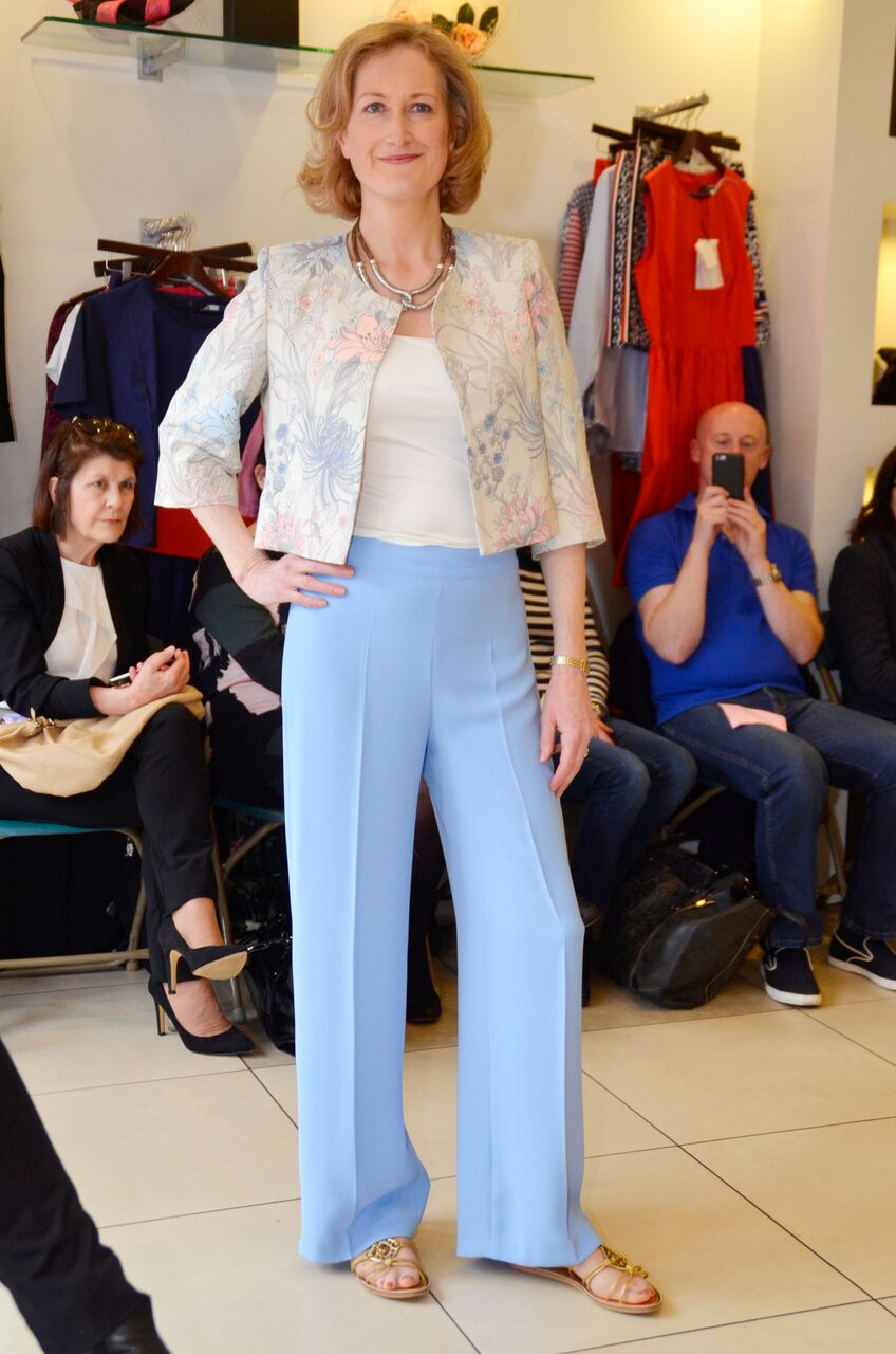 Fee G Wide Leg Sky Blue Trousers and Cropped Jacket