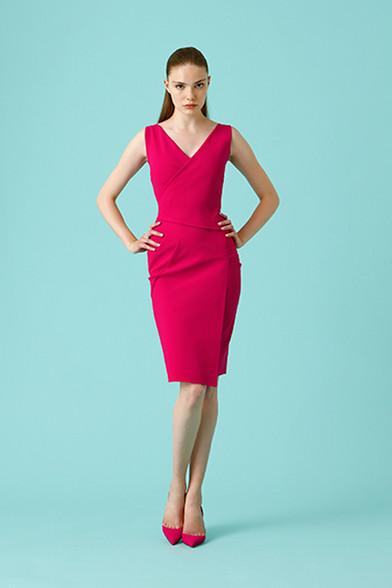 Chiara Boni La Petite Robe Ivanka Dress - Green and Vibrant Pink