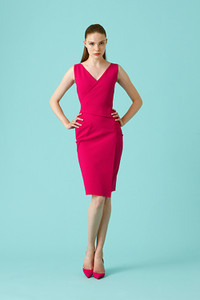 Chiara Boni La Petite Robe Ivanka Dress - Green and Vibrant Pink