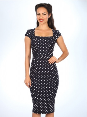 Stop Staring Clbrty Polka Dot Navy Dress