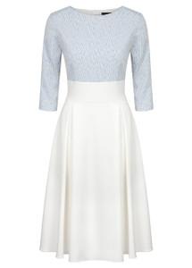 Fee G Ivory and Blue Jacquard Dress