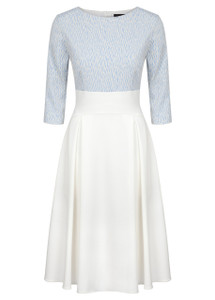 Fee G Ivory and Blue Jacquard Dress