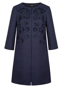 Fee G Navy Embellished Floral Coat