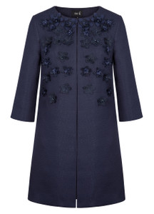 Fee G Navy Embellished Floral Coat