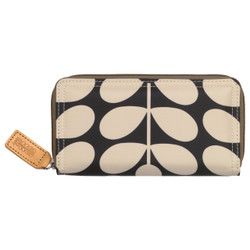 Orla Kiely Big Zip Wallet Charcoal