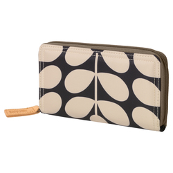 Orla Kiely Big Zip Wallet Charcoal