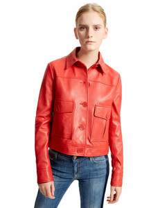 Sportmax Code  Red Merano Leather Jacket