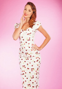 Stop Staring Ellad Fitted White Cherry Dress