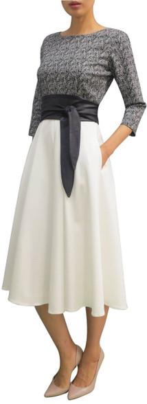 Fee G Black And White Obi Dress