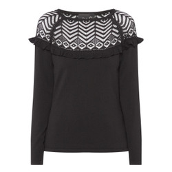 Fee G Black Knit Lace Top
