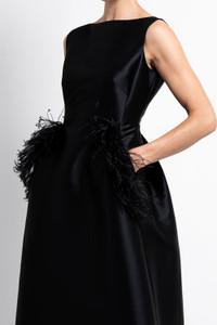 Caroline Kilkenny Midnight Dee Dress Ostrich feather detail